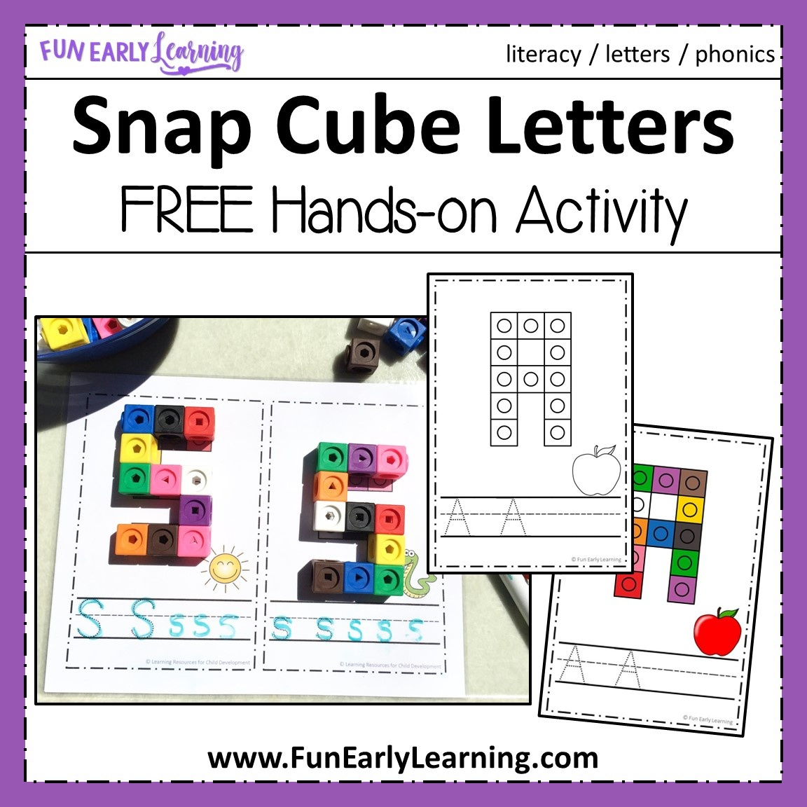 Snap Cube Letters - Hands-On Literacy And Math Activity - Free Printable Early Childhood Activities