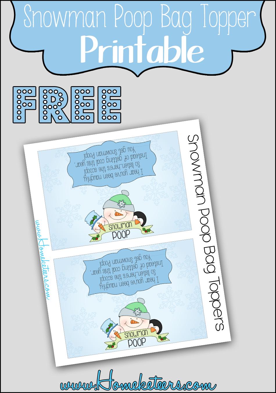 Snowman Poop Bag Topper ~ Free Printable - Free Printable Christmas Bag Toppers Templates
