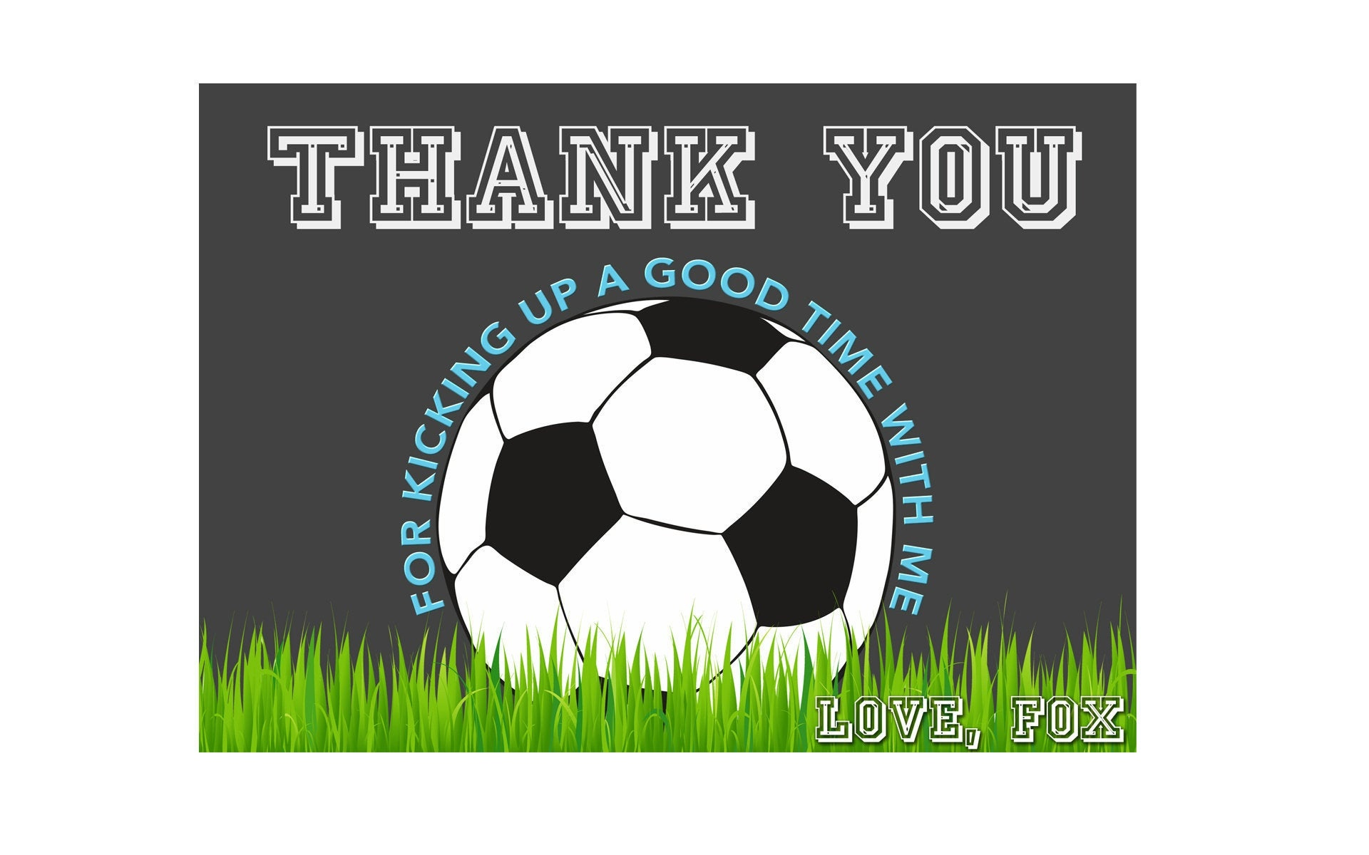 Soccer Thank You Card Soccer Birthday Soccer Ball Thank You | Etsy - Free Printable Soccer Thank You Cards