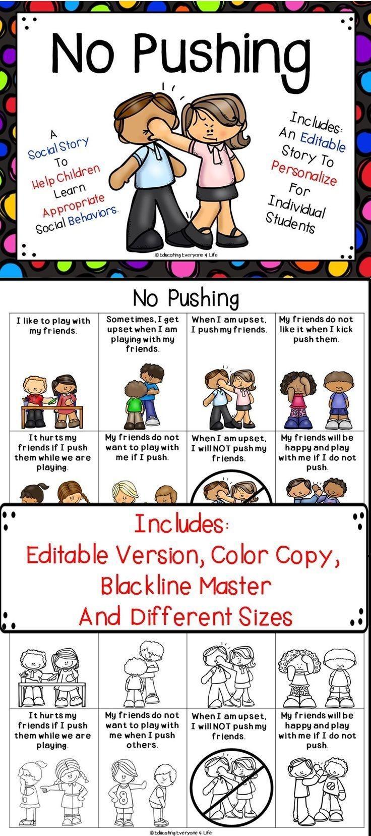 Social Story - No Pushing | Educating Everyone 4 Life | Social - Free Printable Social Stories Making Friends