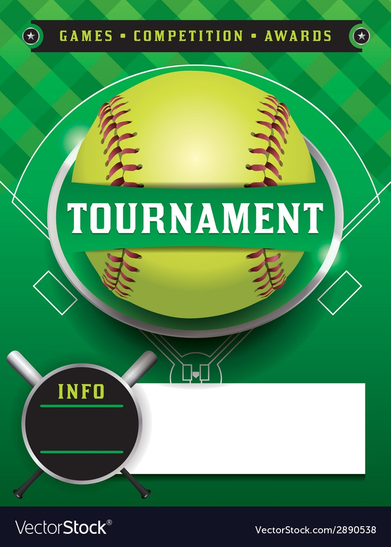 Softball Tournament Template Royalty Free Vector Image - Free Printable Softball Images
