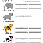 Spanish Learning Worksheet   Free Kindergarten Learning Worksheet   Free Printable Spanish Alphabet Worksheets