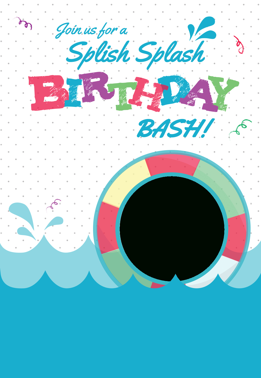 Splish Splash - Free Printable Summer Party Invitation Template - Free Printable Water Park Birthday Invitations