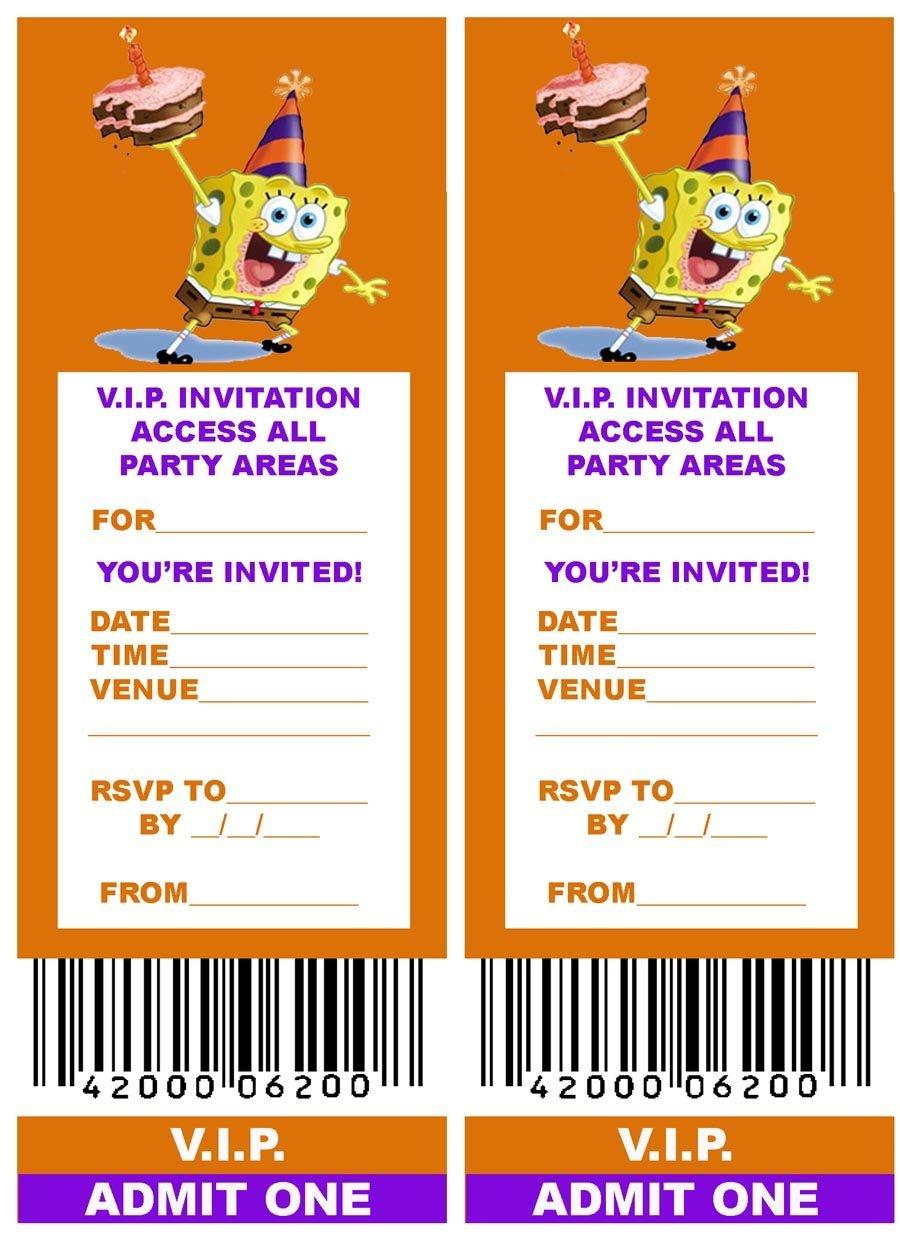 Spongebob: Free, Printable V.i.p. Ticket Style Spongebob Party - Spongebob Free Printable Invitations