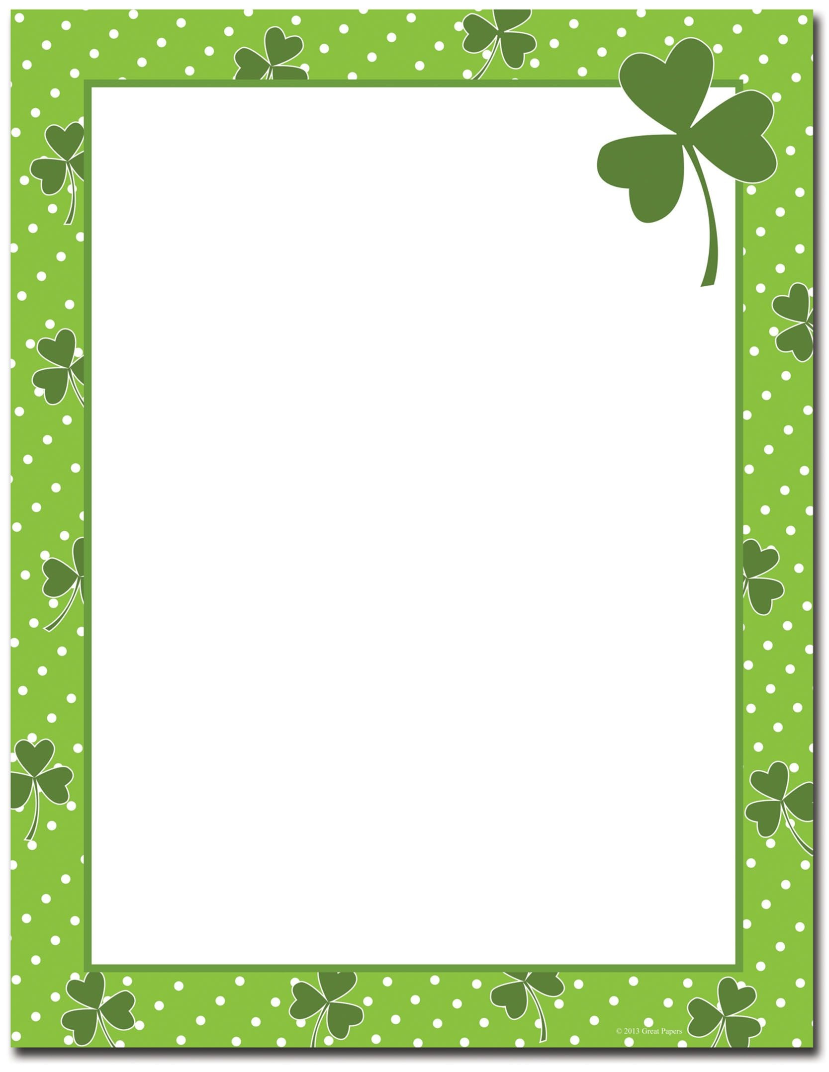 St Patrick's Day Stationery | Four Leaf Clover Letterhead | St - Free Printable St Patricks Day Stationery