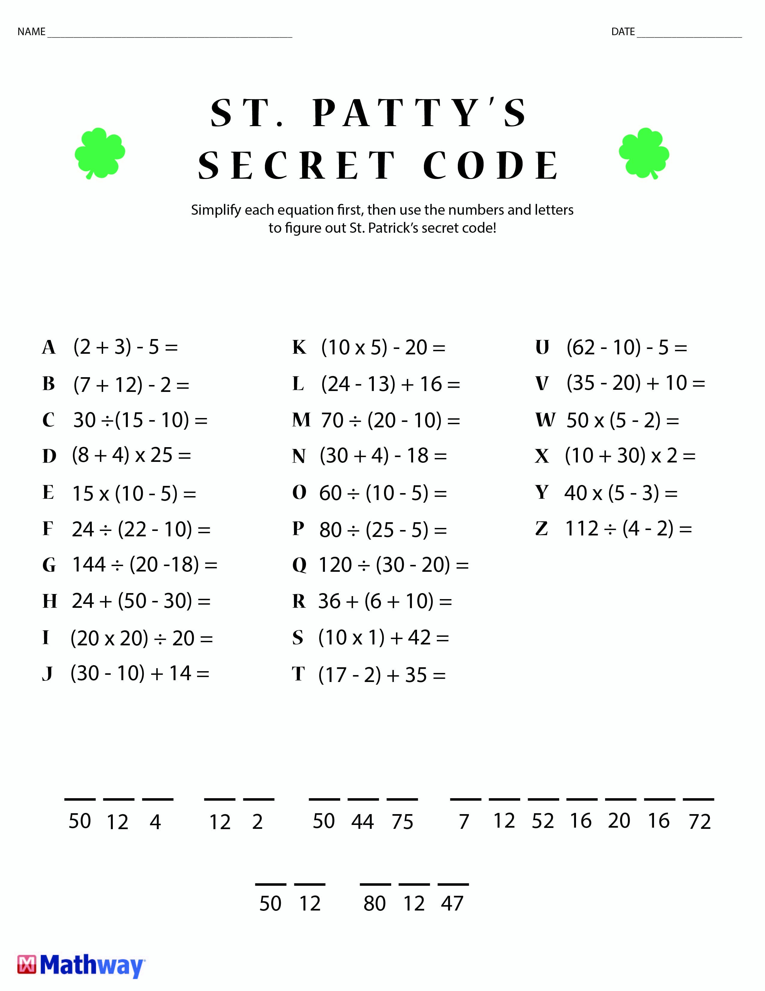 St. Patty's Day Crack The Secret Code Worksheet! Print This One Out - Crack The Code Worksheets Printable Free