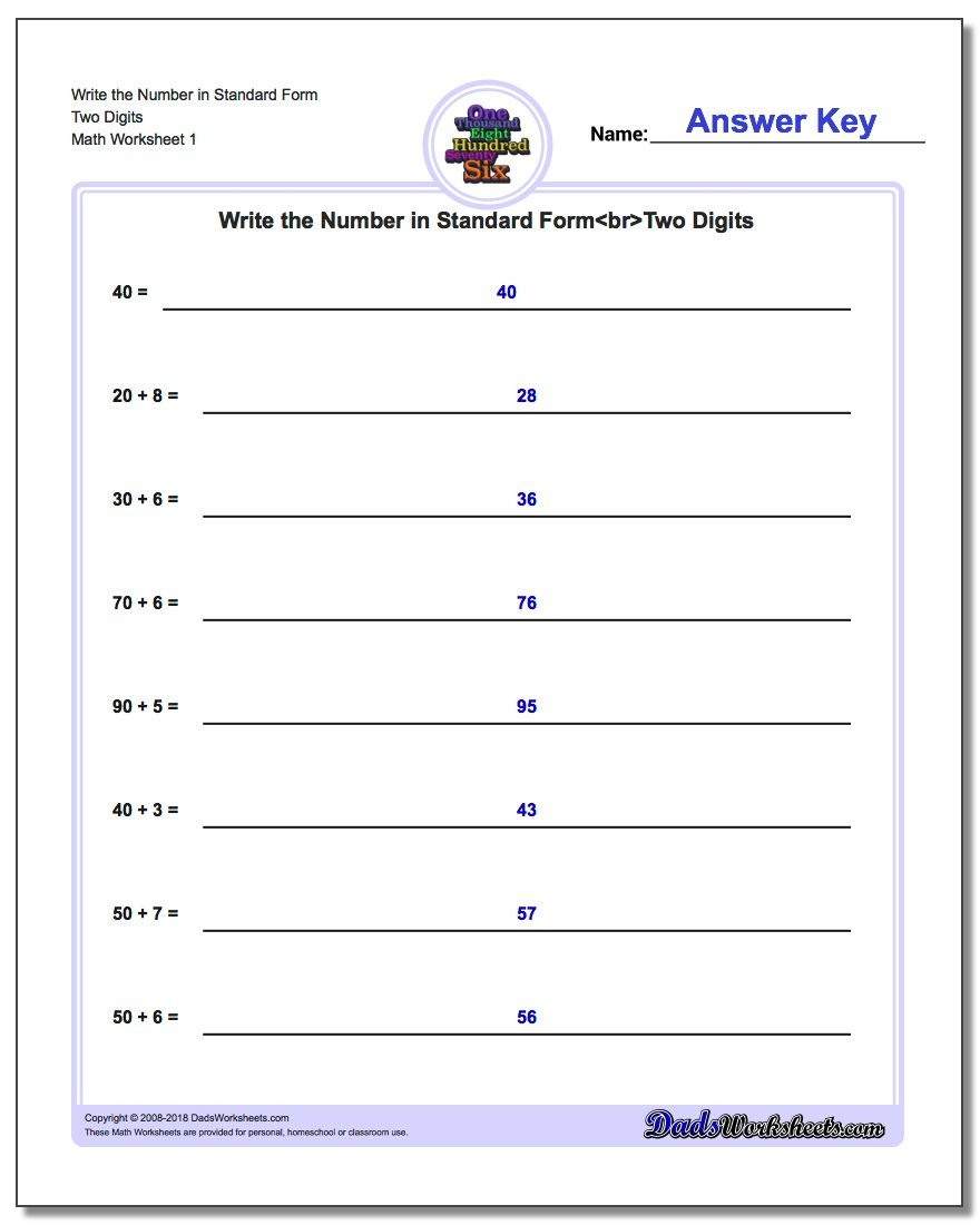 Standard, Expanded And Word Form - Free Printable Expanded Notation Worksheets