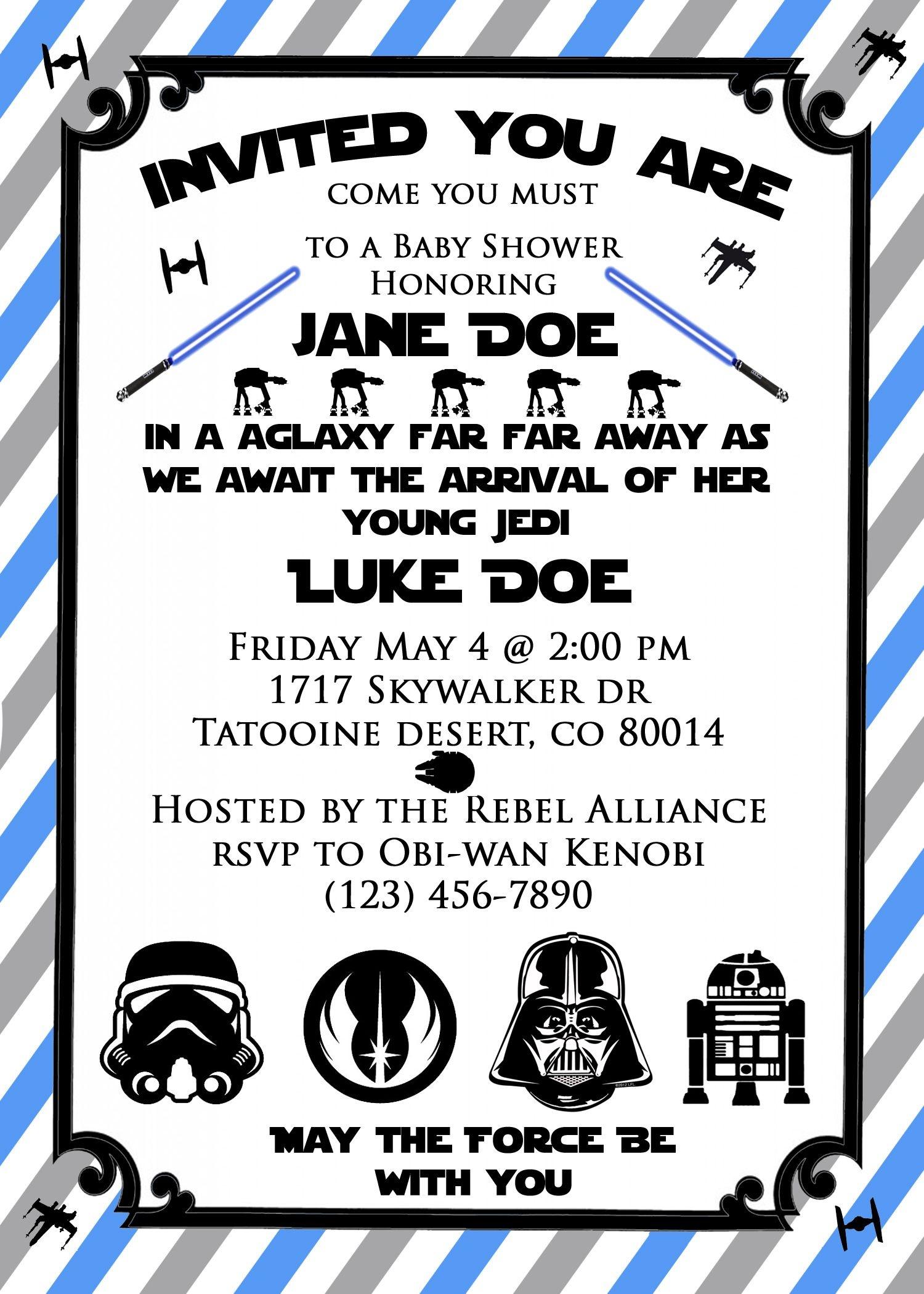 Star Wars Baby Shower Invite! So Cute For A Star Wars Themed Baby - Free Printable Star Wars Baby Shower Invites