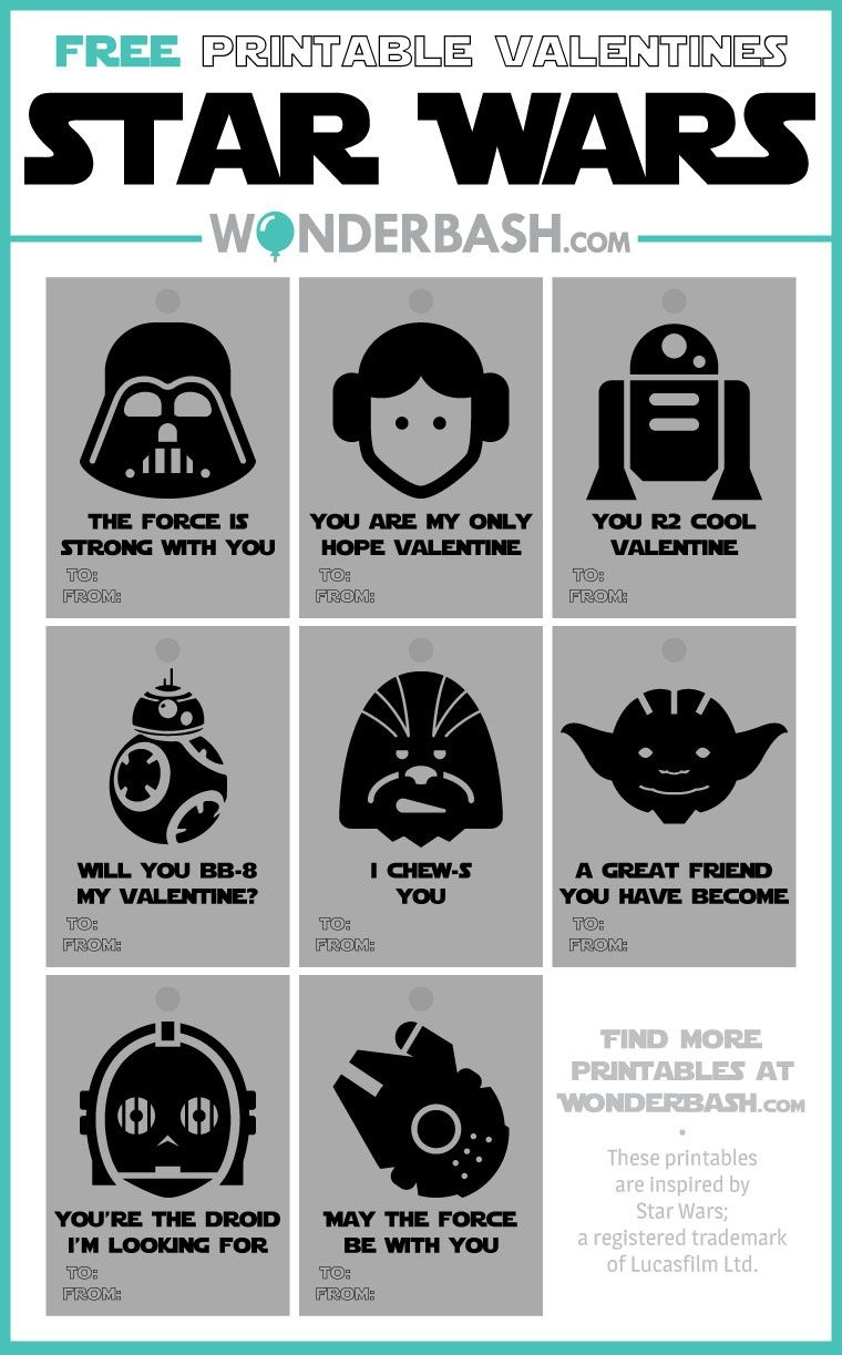 Star Wars Valentines Printables Free Download | Wonderbash - May The Force Be With You Free Printable