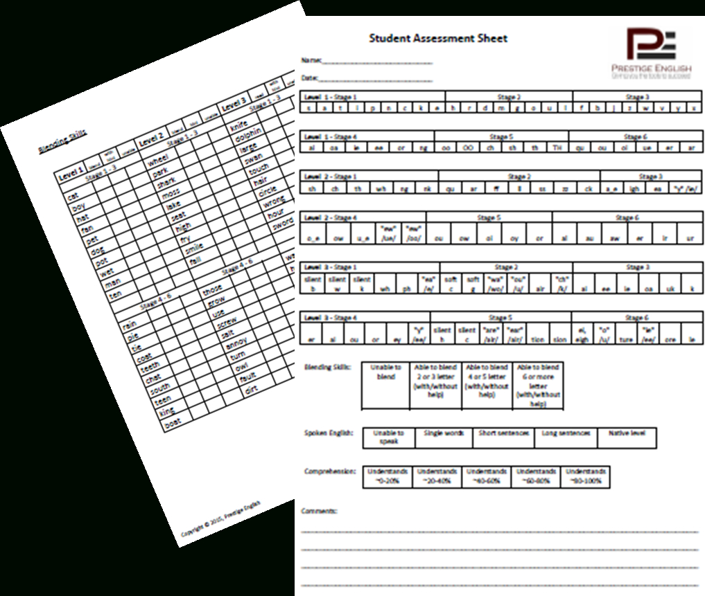 Student Assessment Sheet - Phonics / Reading / Blending (Jolly - Free Printable Phonics Assessments