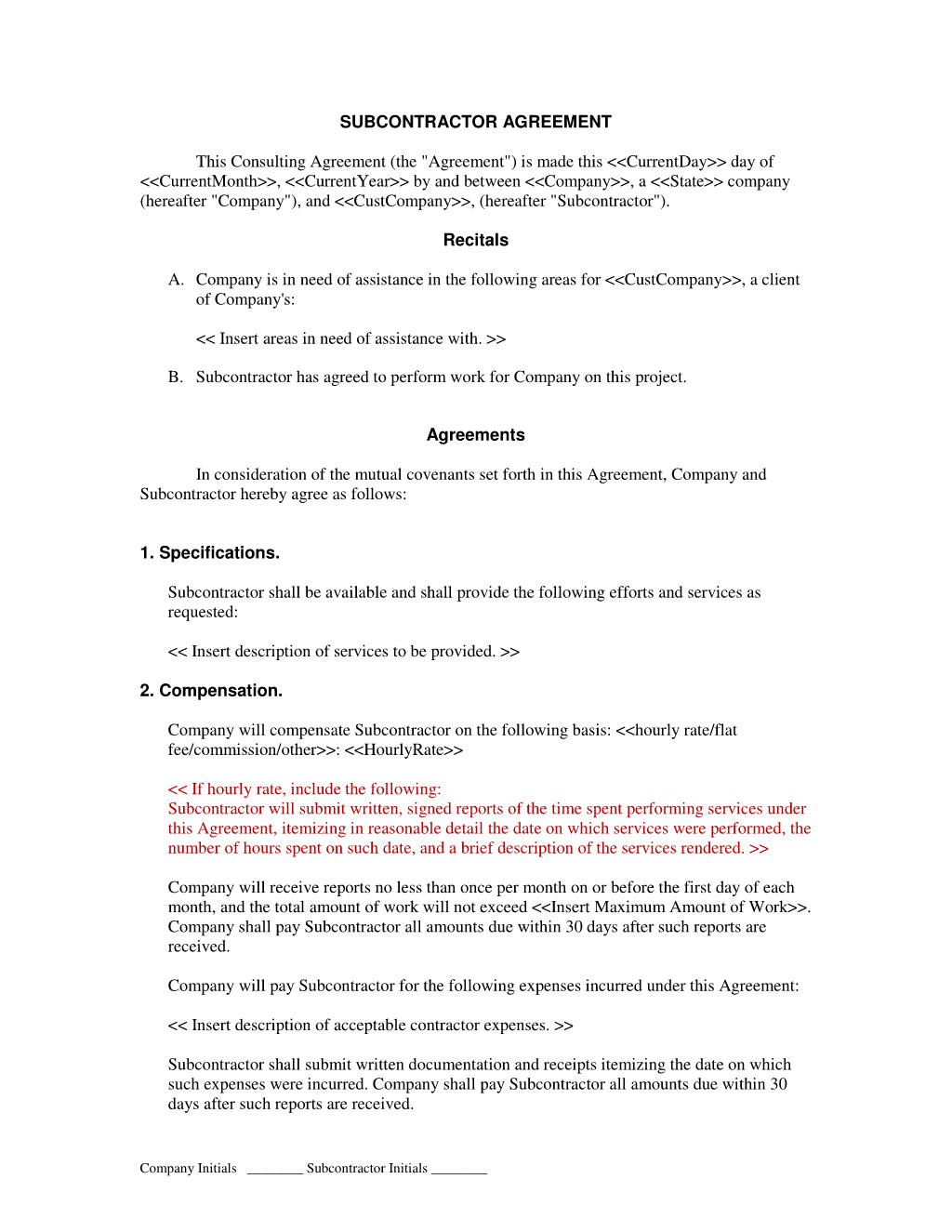 Subcontractor Short Form Contract : Contractor And Employee - Free Printable Subcontractor Agreement