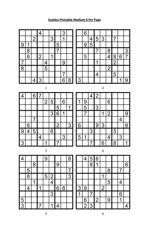 Sudoku Printable Medium 6 Per Page - Free Printable Sudoku 6 Per Page