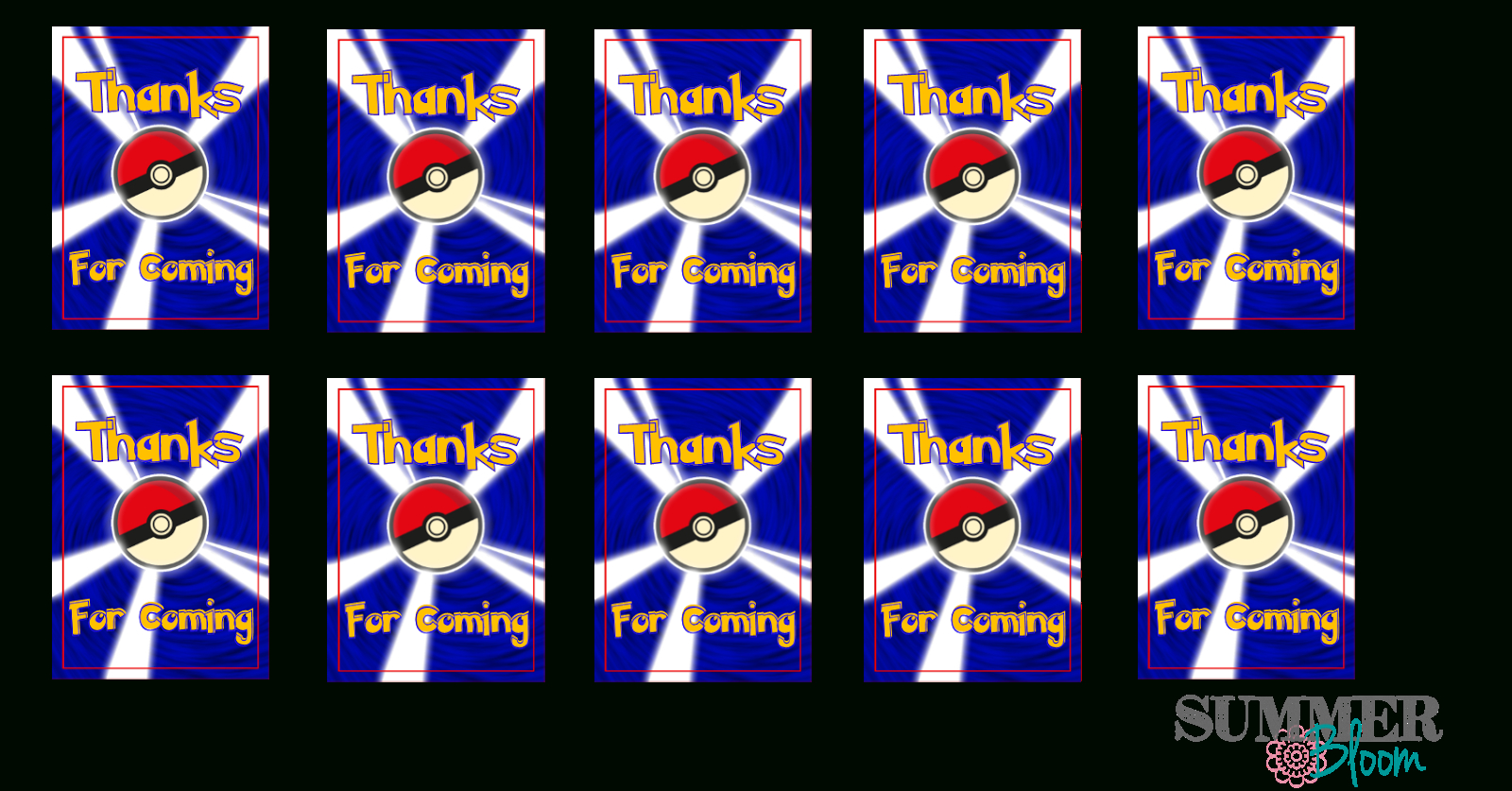 Summer Bloom: Teach. Create. Party: Pokemon Birthday Party With Freebies - Free Printable Pokemon Thank You Tags