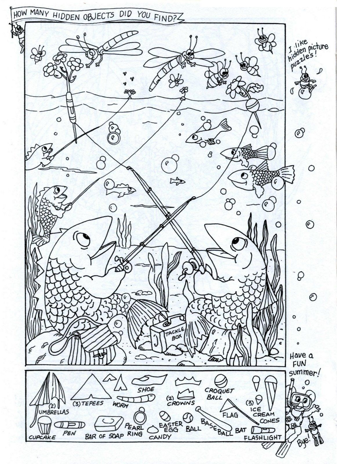 Summer Fun - Hidden Picture Puzzle/coloring Page | Puzzles-Logic - Free Printable Summer Puzzles
