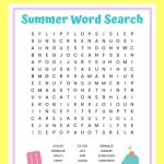 Summer Word Search Free Printable Worksheet For Kids   Free Printable Summer Puzzles