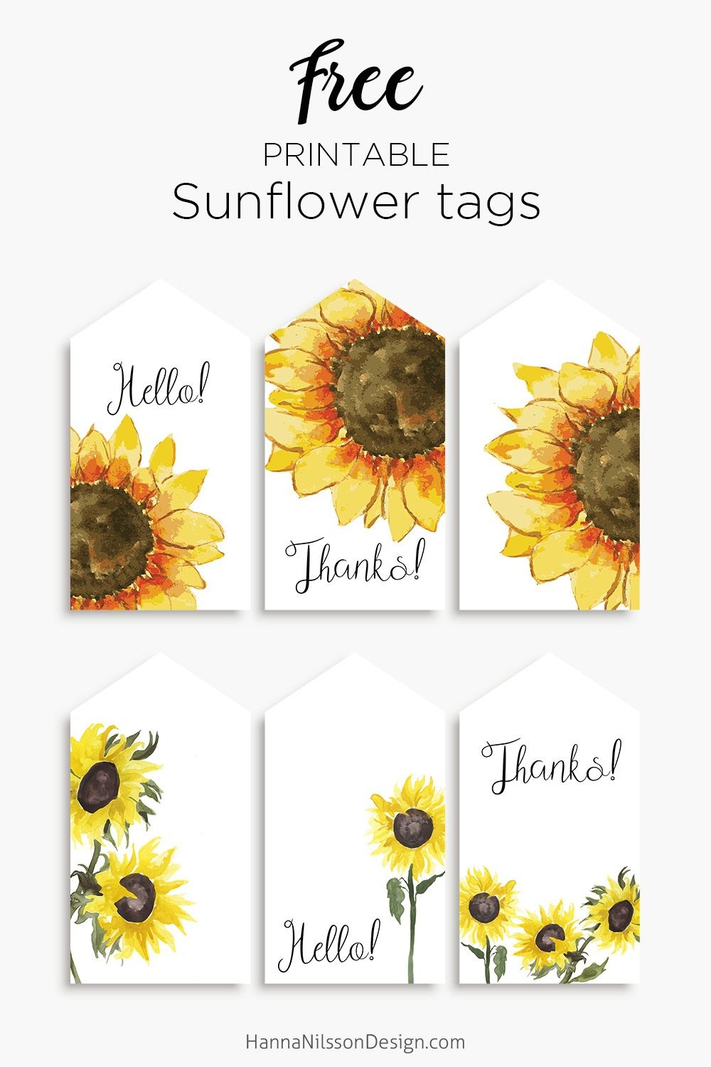 Sunflower Tags | Printables | Gift Tags Printable, Free Printable - Free Printable Sunflower Stationery