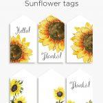 Sunflower Tags | Printables | Gift Tags Printable, Free Printable   Free Printable Sunflower Template