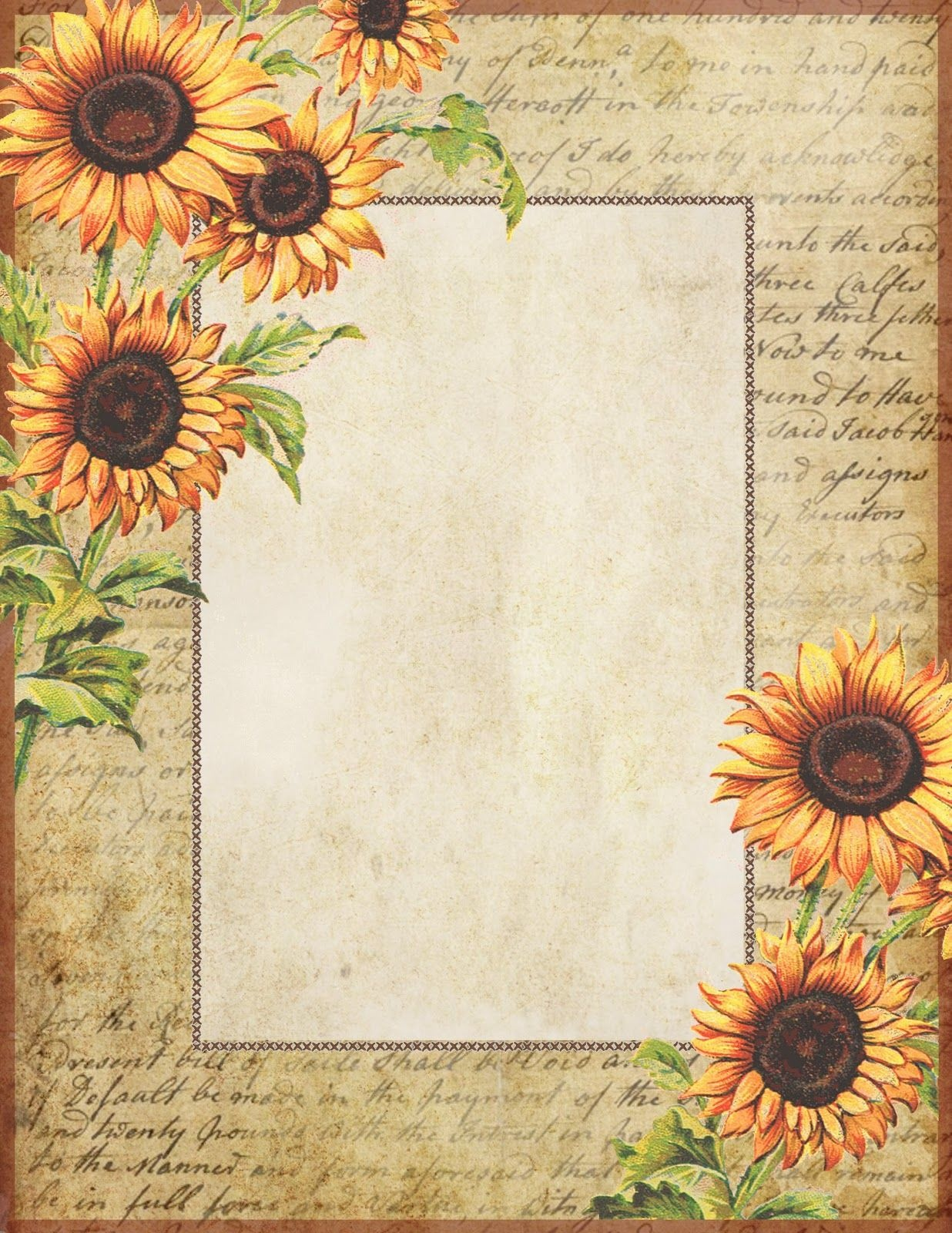 Sunflowers ~ Free Printable Stationery | Graphics: Lilac & Lavender - Free Printable Sunflower Stationery
