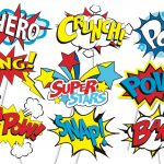 Superhero Action Party Photo Booth Props Or Superhero Cake   Etsy   Free Printable Superhero Photo Booth Props