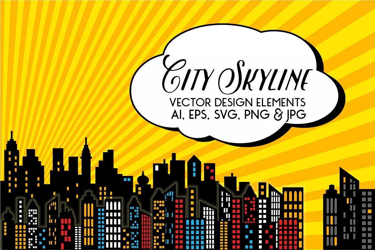 Superhero - City Skyline Vectors - Free Printable Superhero Skyline