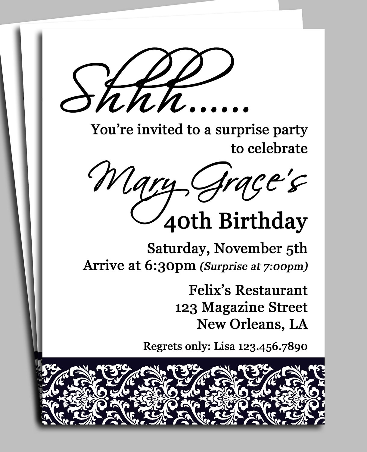 Surprise Birthday Party Invitation Wording For Adults — Birthday - Free Printable Surprise 40Th Birthday Party Invitations