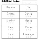 Syllables At The Zoo Worksheet | Reading | Syllable, Worksheets   Free Printable Open And Closed Syllable Worksheets