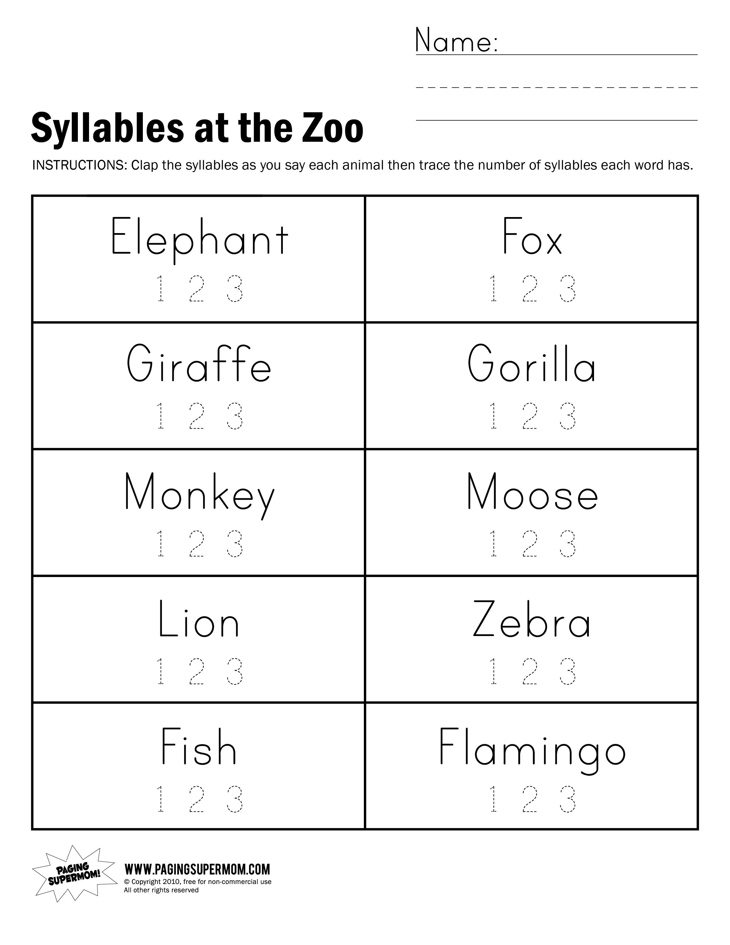 Syllables At The Zoo Worksheet | Reading | Syllable, Worksheets - Free Printable Open And Closed Syllable Worksheets
