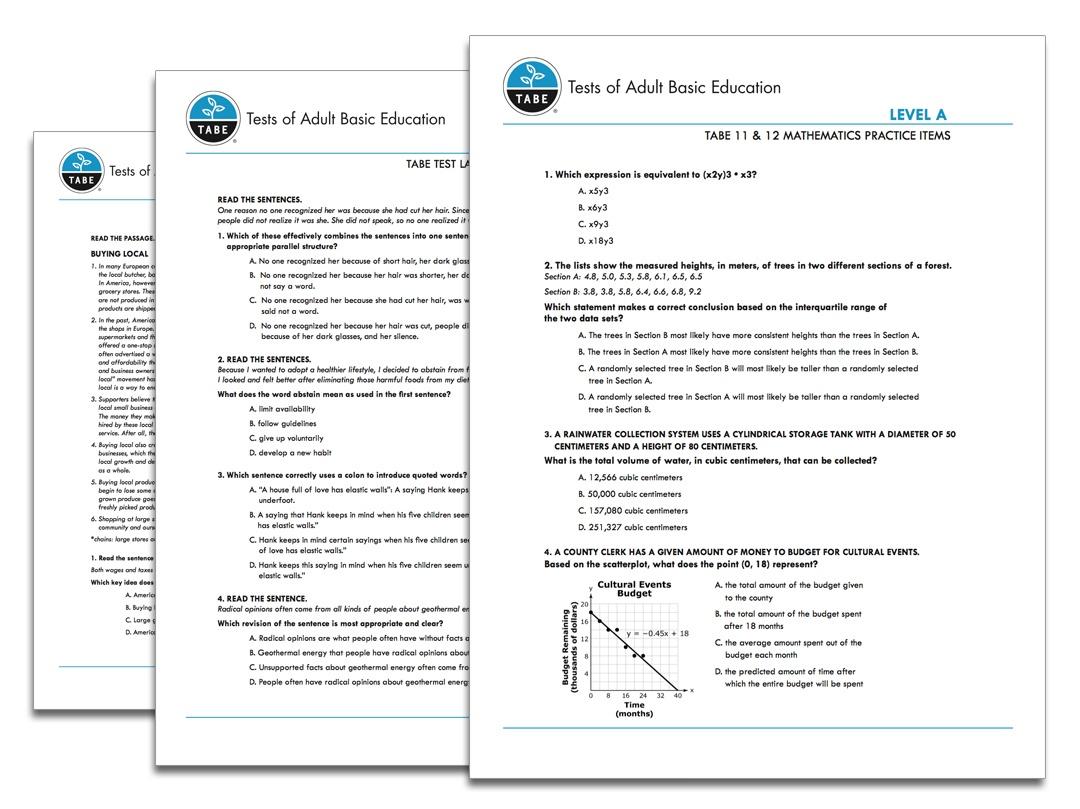 Tabe 11&12 Sample Practice Items | Tabetest | Tabetest - Tabe Practice Test Free Printable
