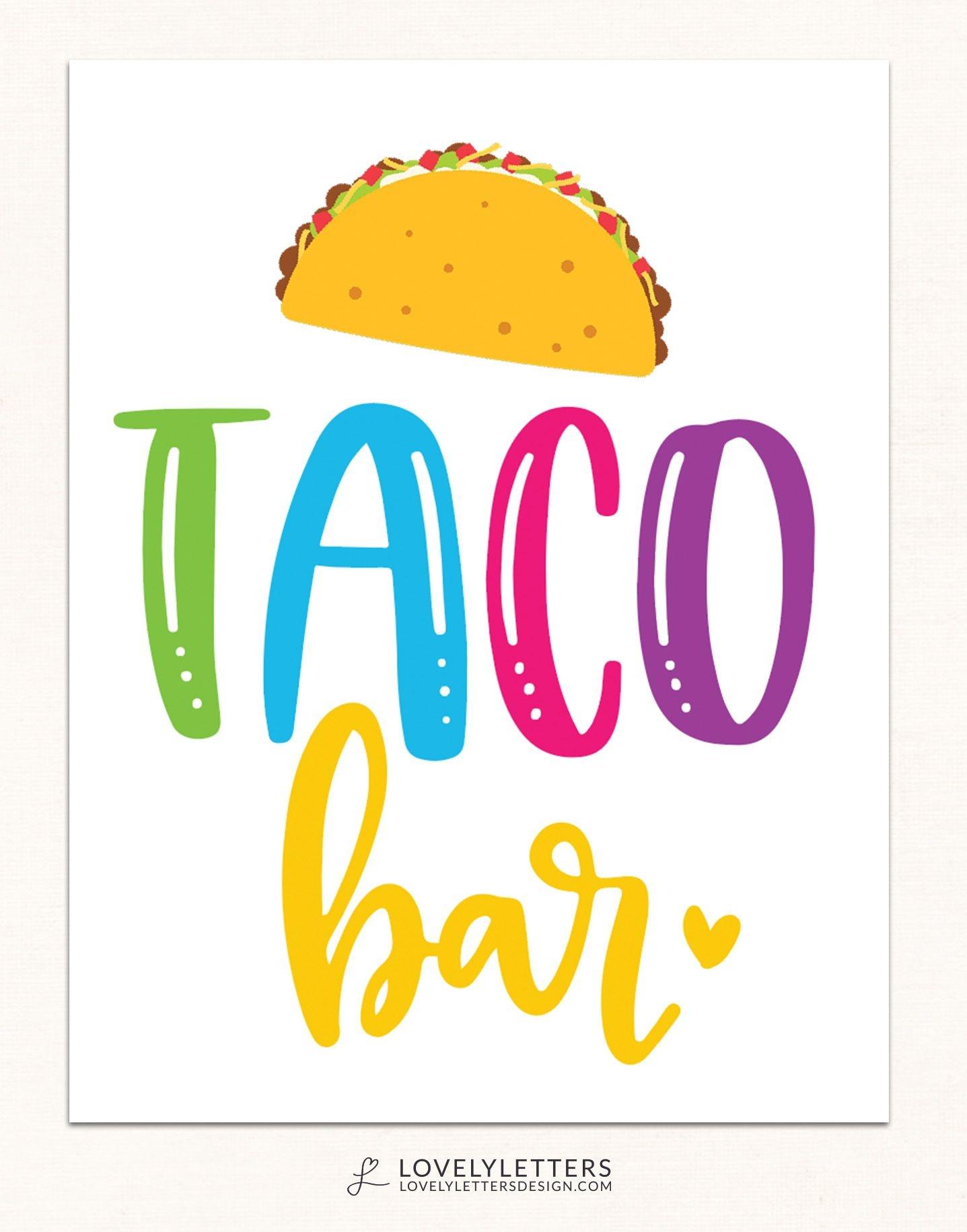 Taco Bar Sign / Taco Bar Printable / Taco Party Printables / Taco - Free Printable Taco Bar Signs