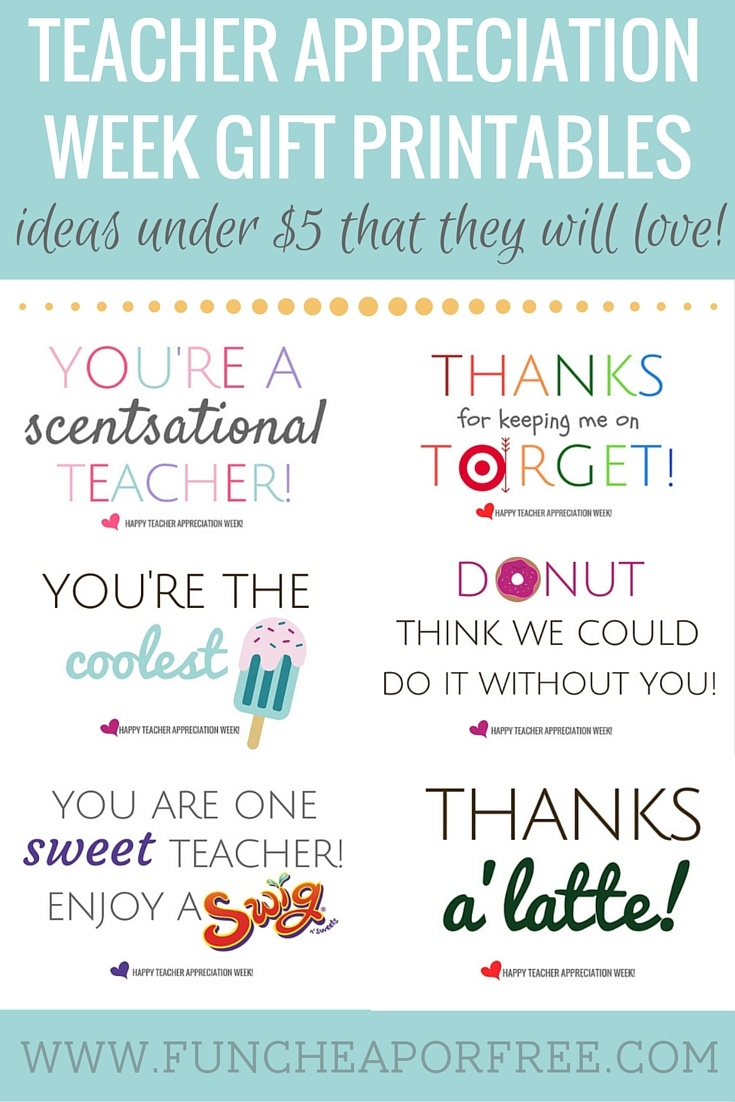 Teacher Appreciation Printables - Gifts Under $5! - Fun Cheap Or Free - Scentsational Teacher Free Printable
