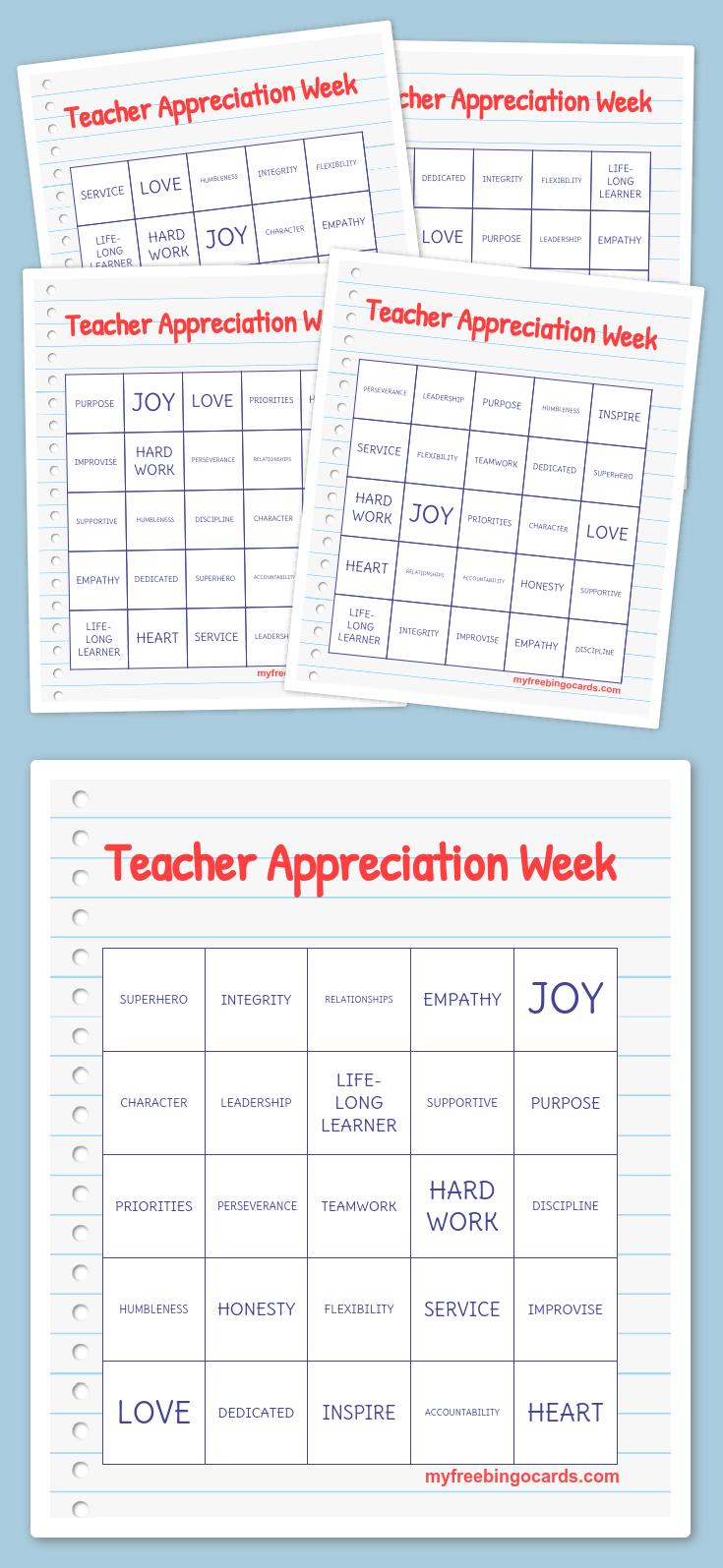 Teacher Appreciation Week Bingo | Teacher | Free Bingo Cards, Word - Free Printable Bingo Cards For Teachers