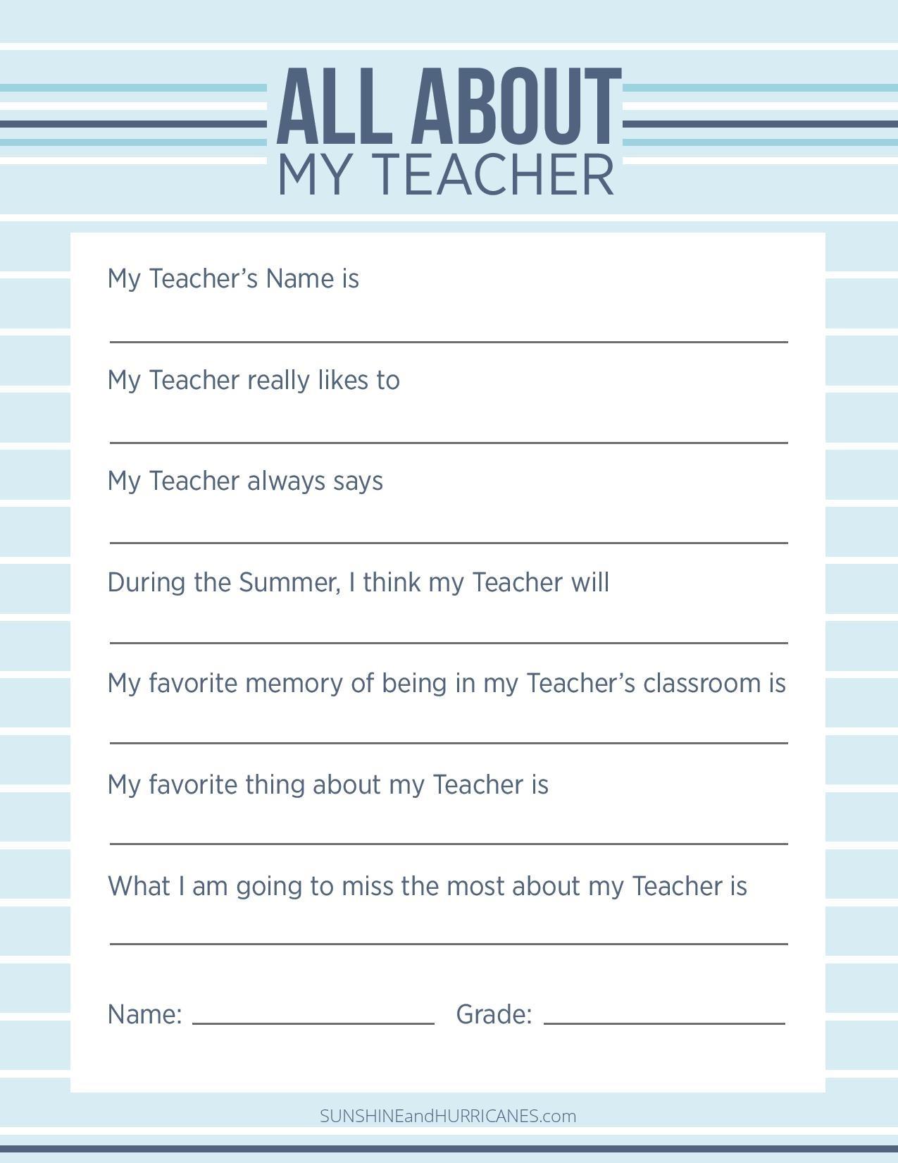 Teacher Appreciation Week Questionnaire - A Personalized Teacher Gift - Make A Printable Survey Free