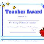 Teacher Awards 9 New Certificat Templates   Free Printable Certificates For Teachers