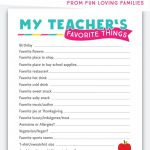 Teacher Favorite Things: Printable Questionnaire For Teacher Gifts   Free Printable Survey Generator