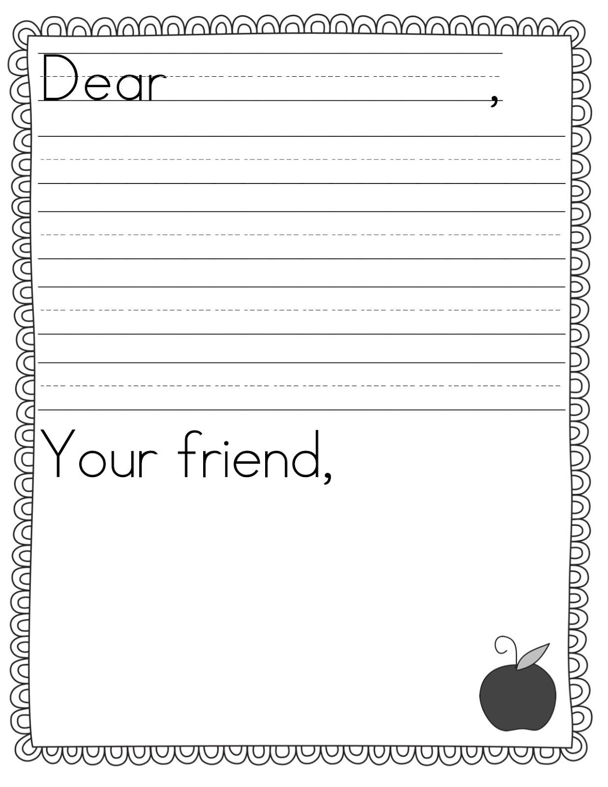 Teacher Idea Factory: Pen Pal News + Friendly Letter Freebie | First - Free Printable Letter Writing Templates
