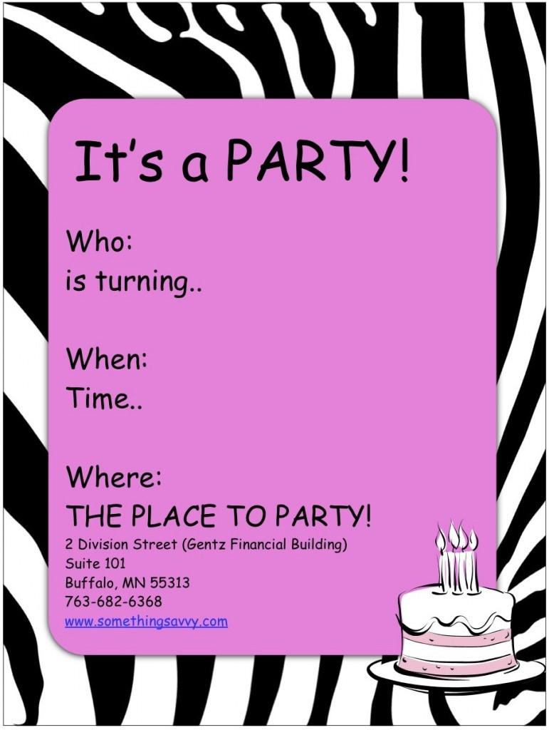 Teenage Girl Birthday Invitations Free Printable — Birthday - Free Printable Girl Birthday Invitations