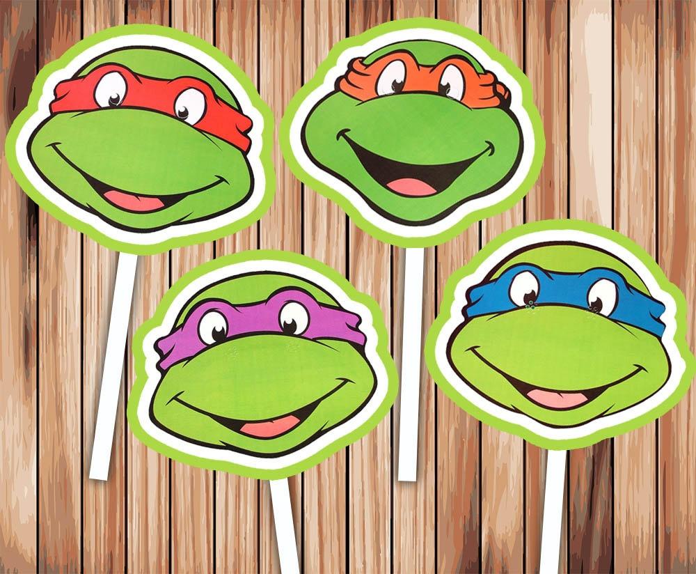 Teenage Mutant Ninja Turtle Cupcake Toppers Party Decor | Etsy - Free Printable Teenage Mutant Ninja Turtle Cupcake Toppers