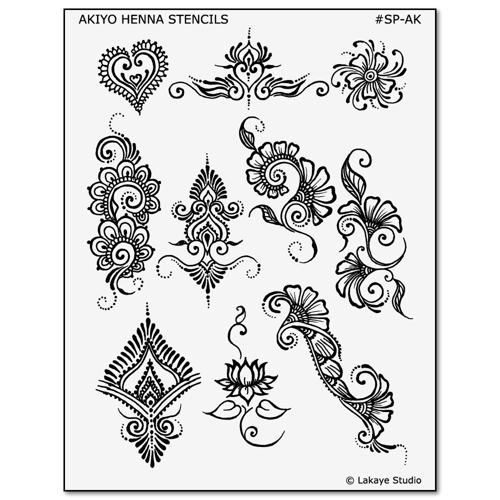 Temporary Tattoo Design Stencils For Earth Henna Body Art Kits - Free Printable Henna Tattoo Designs