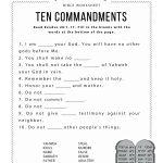 Ten Commandments Worksheet For Kids | Worksheets For Psr | Bible   Free Catholic Ten Commandments Printable