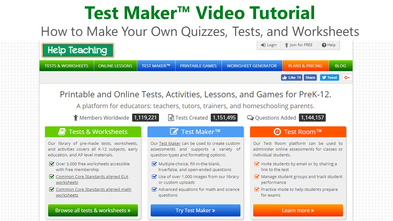 Test Maker - How To Create Your Own Worksheets Video Tutorial - Free Printable Test Maker For Teachers