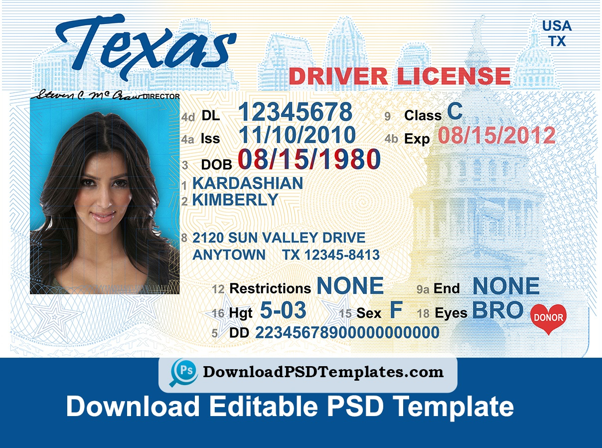 Texas Driver License Psd Template   Download Editable File - Free Printable Fake Drivers License