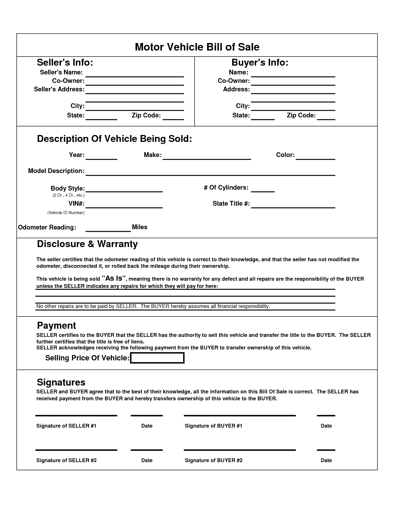 Texas Motor Vehicle Bill Sale Form | Books Worth Reading | Bill Of - Free Printable Vehicle Bill Of Sale