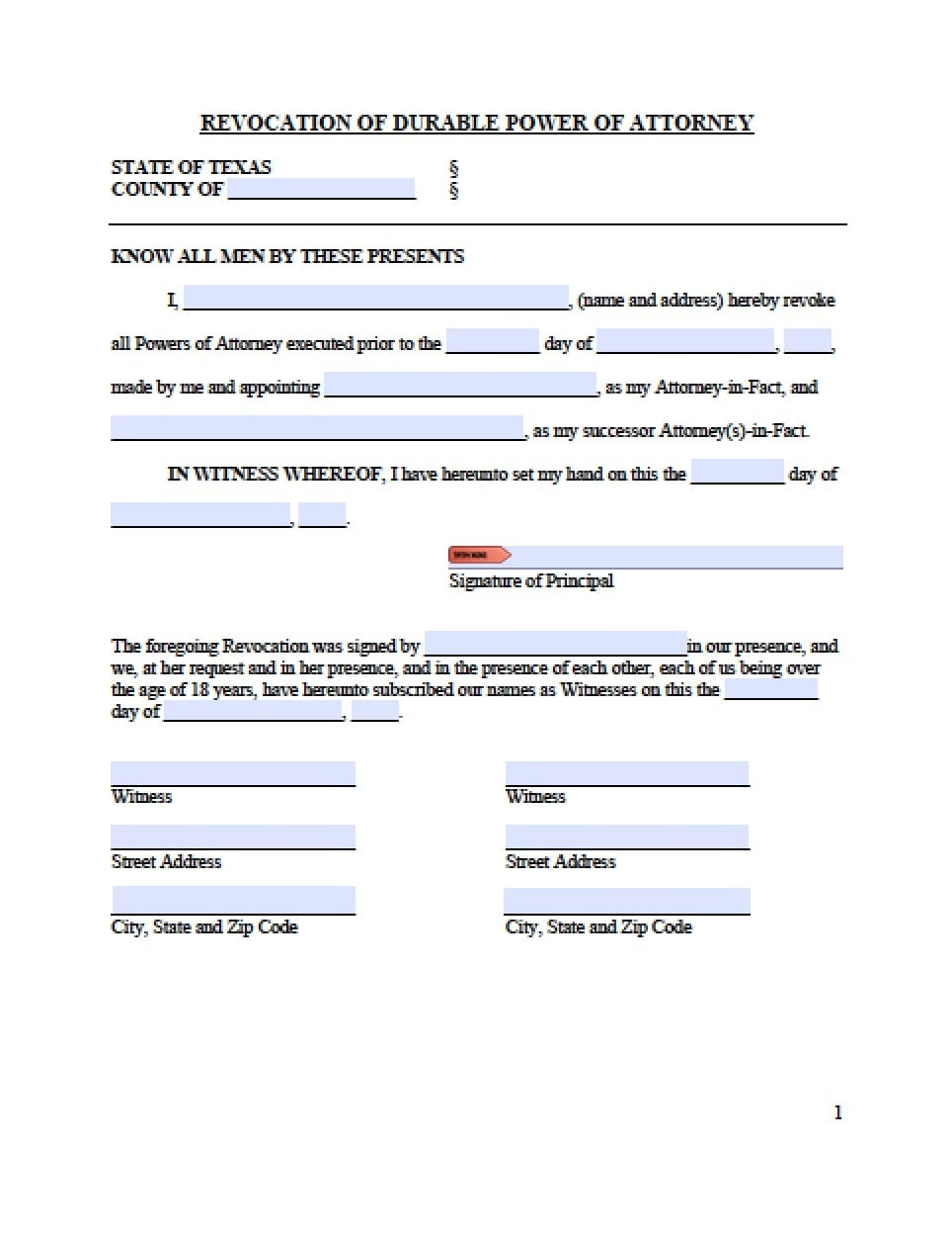 Texas Revocation Power Of Attorney Form - Power Of Attorney : Power - Free Printable Revocation Of Power Of Attorney Form