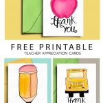 Thank You Card For Teacher And School Bus Driver With Free   Free Printable Teacher Appreciation Greeting Cards