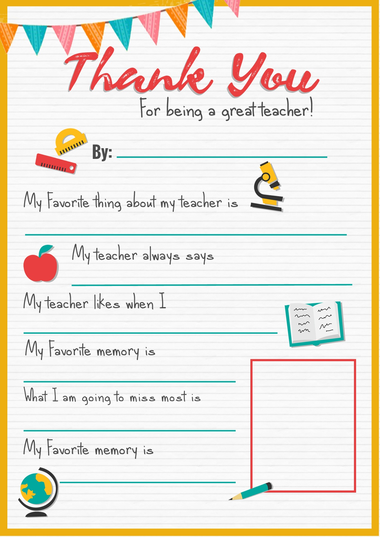 Thank You Teacher - A Free Printable | Stay At Home Mum - All About My Teacher Free Printable