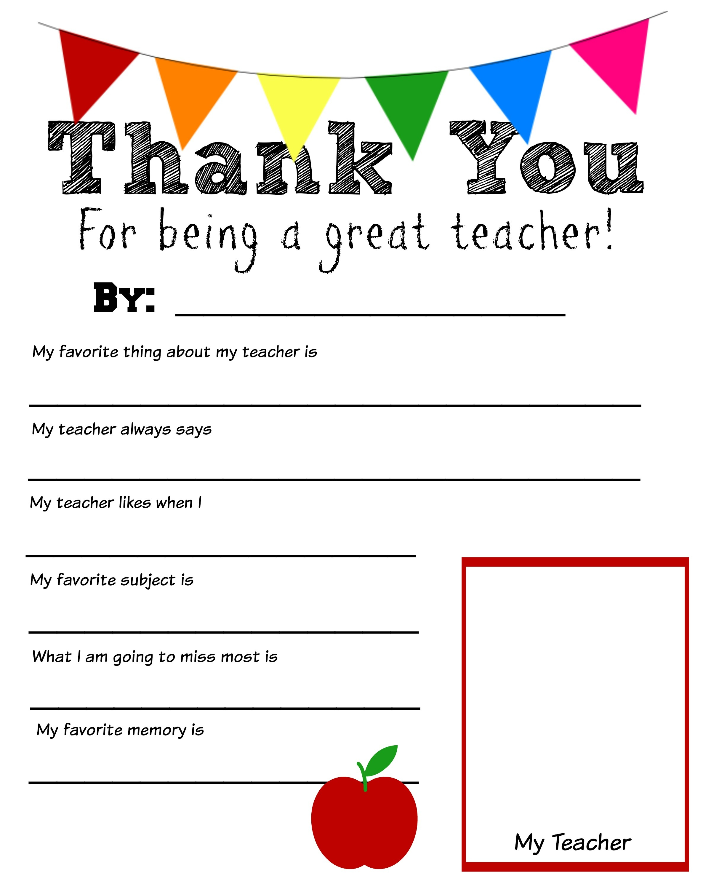 Thank You Teacher Free Printable - All About My Teacher Free Printable