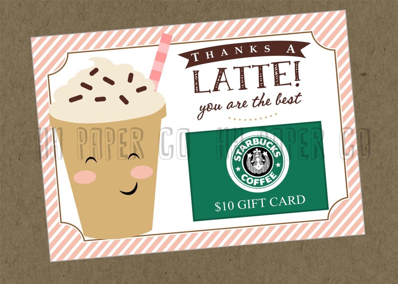 Thanks A Latte Gift Card Holder Printable Teacher Gift | Etsy - Thanks A Latte Free Printable Card