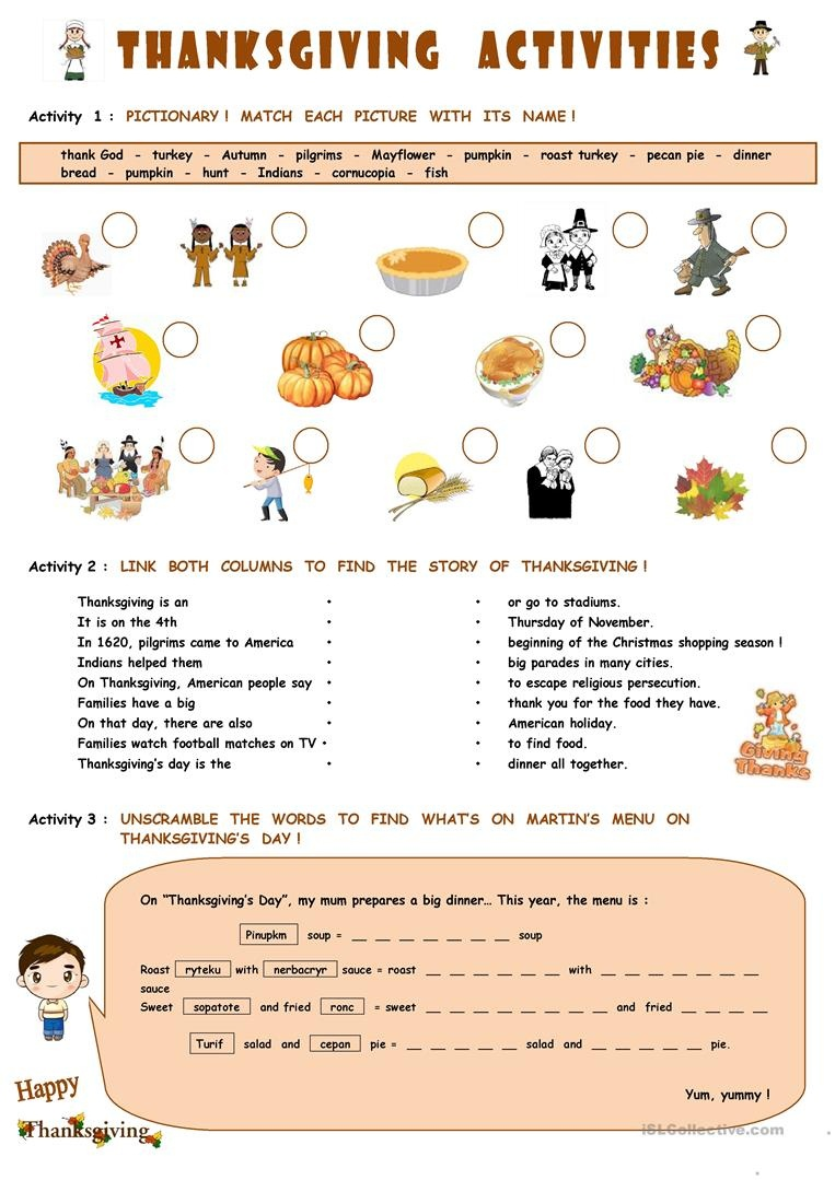 Thanksgiving Activities Worksheet - Free Esl Printable Worksheets - Free Printable Thanksgiving Worksheets For Middle School