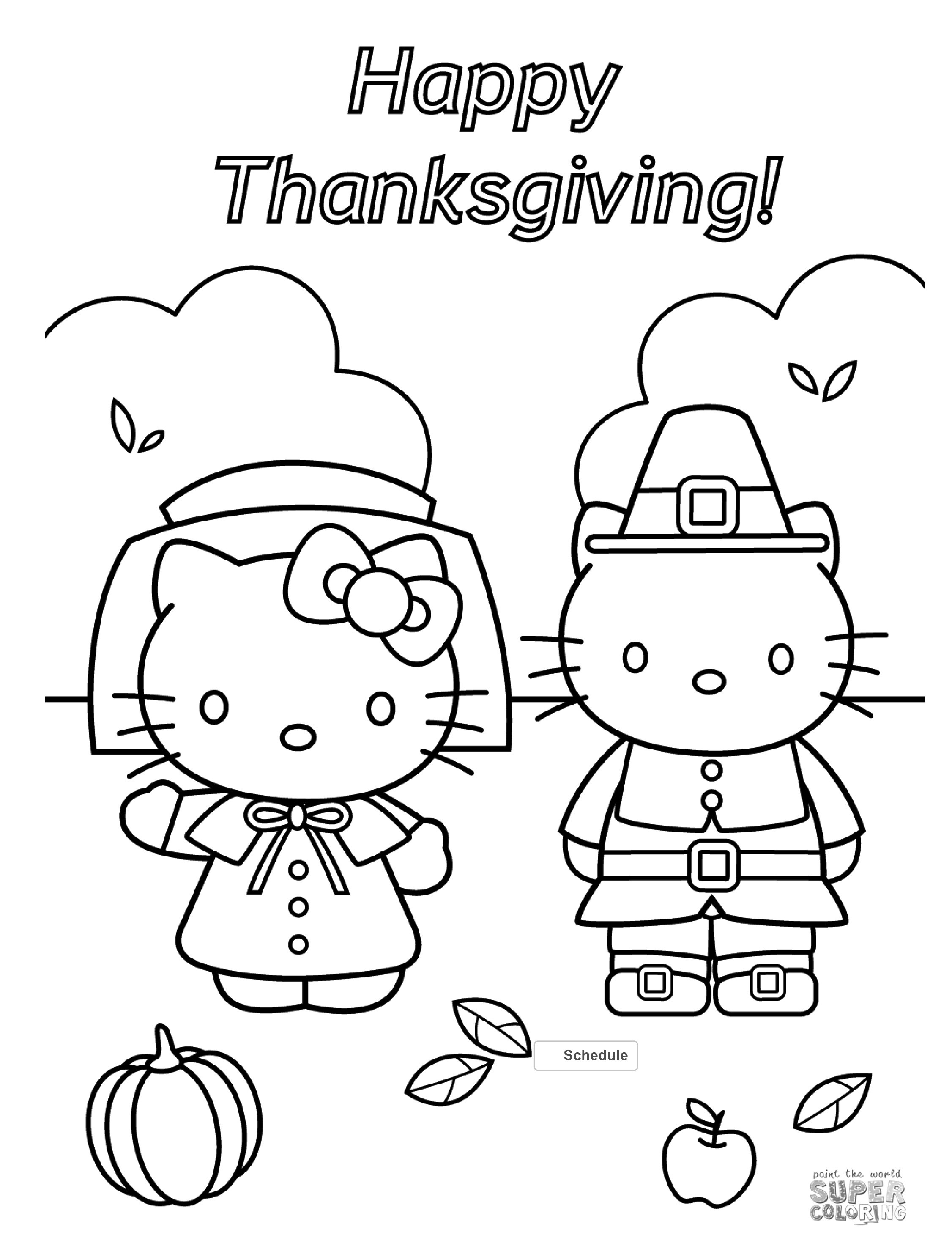 Thanksgiving Color Pages Hello Kitty Thanksgiving Coloring Page Free - Free Printable Thanksgiving Coloring Pages