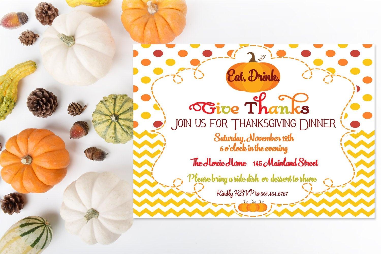 Thanksgiving Dinner Printable Invitation Fall Party | Etsy - Free Printable Fall Festival Invitations